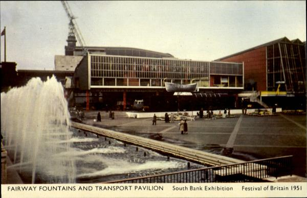 FairwayFountains and Transport Pavilion South Bank Exhibition Festival of Britain 1951 England