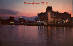 Lights of Asbury Park on Wesley Lake Postcard