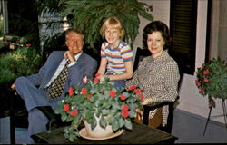 Jimmy, Rosalynn and daughter Amy on Mother Allie's porch