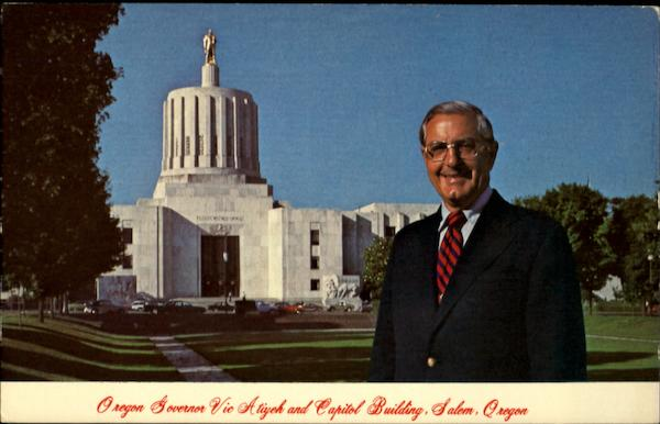 Oregon Governor Vic Atiyeh and Capitol Building Salem