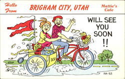 Hello from Brigham City, Utah Mattie's Cafe Postcard
