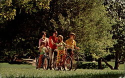 Family of Five on Bicycles