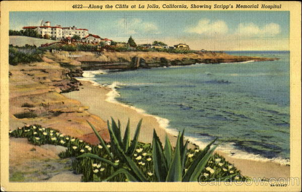 Along the cliffs, showing Scripp's Memorial Hospital La Jolla California