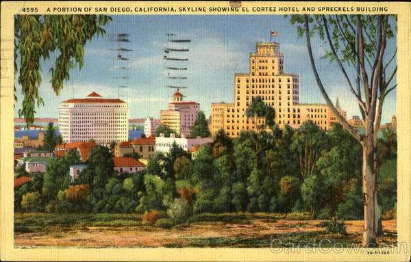 A Portion of San Diego, California, skyline showing El Cortez Hotel and Spreckels Building
