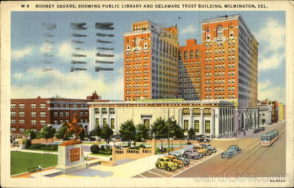 Rodney Square, Showing Public Library and Delaware Trust Building, Wilmington, Del