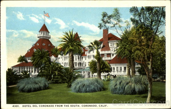 Hotel Del Cornonado From the South Coronado California