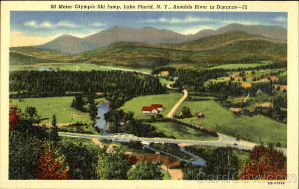 60 Meter Olympic Ski Jump, Ausable River in Distance Lake Placid New York