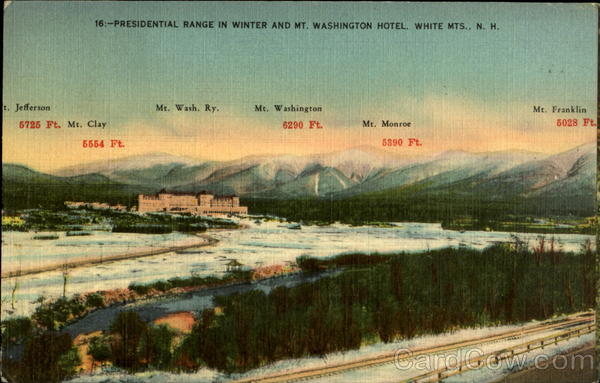 Presidential Range in Winter and Mt. Washington Hotel White Mountains New Hampshire