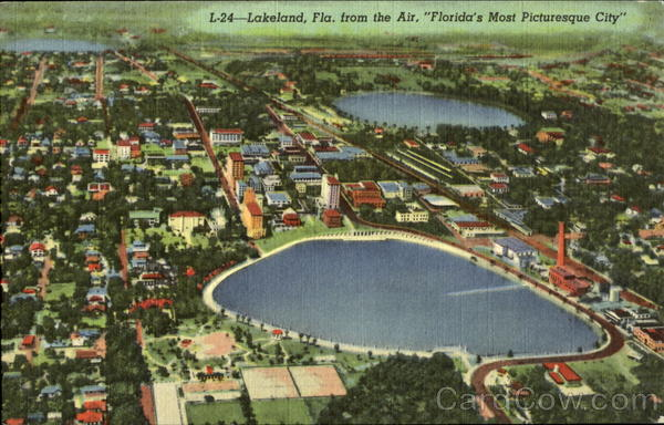 L-24 - Landeland, Fla. from the Air, Florida's Most Picturesque City Lakeland