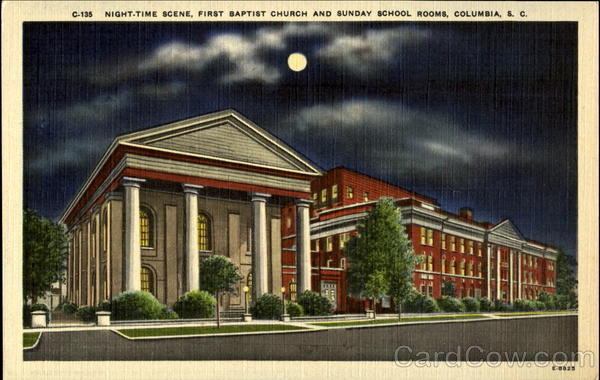 Night-time scene, First Baptist Church and Sunday School Rooms Columbia South Carolina