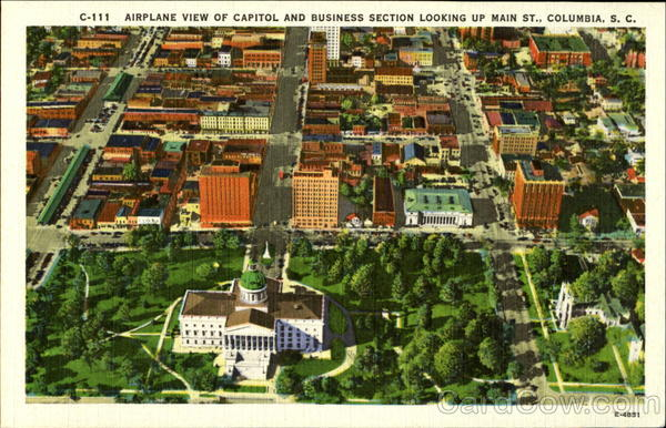 airplane view of capitol and business section look up main st columbia South Carolina
