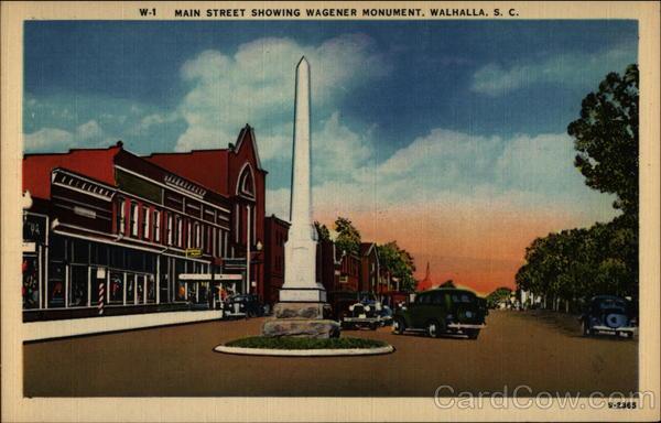 Main Street Showing Wagener Monument Walhalla South Carolina