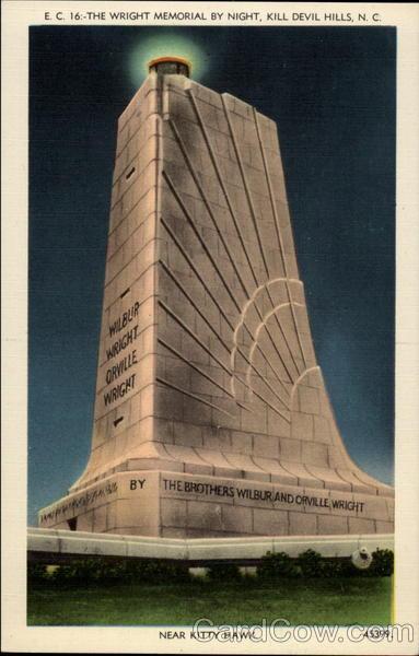 The Wright Memorial by Night, Kill Devil Hills, N. C. Near Kitty Hawk North Carolina