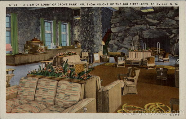 A view of lobby of Grove Park In.., showing one of the big fireplaces Asheville North Carolina