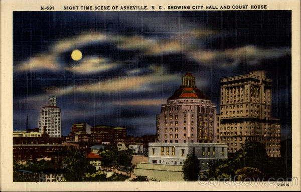 Night Scene of Asheville, N.C.. Showing City Hall and Court House North Carolina