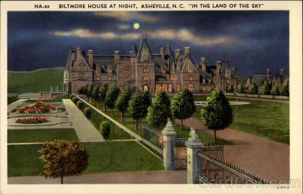 Biltmore house at night in the land of the sky asheville North Carolina