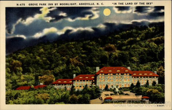 Grove Park Inn By Moonlight, Ashville, N.C. In the Land of the Sky Asheville North Carolina