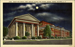Night-time scene, First Baptist Church and Sunday School Rooms