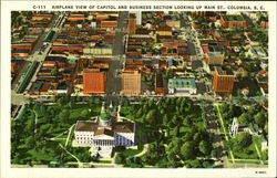 airplane view of capitol and business section look up main st