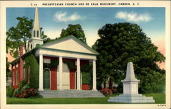 Presbyterian Church and De Kalb Monument Postcard