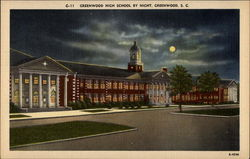 Greenwood High School by Night Postcard