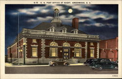 U. S. Post Office at Night Postcard
