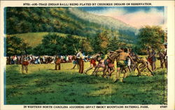 Ani-Tsagi (Indian Ball) Being Played by Cherokee Indians on Reservation