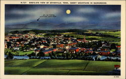 Bird's-eye View Of Sevierville, Tenn., Smoky Mountains in Background Postcard