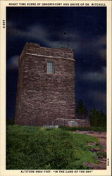 Nightime Scene of Observatory and Grave of Dr. Mitchell