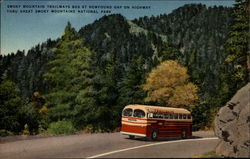 Smoky Mountain Trailways Bus at Newfound Gap on Highway Thru Great Smoky Mountains National Park