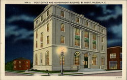 Post Office and Government Building, by night Postcard