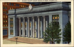 Wilson County court house at night Postcard