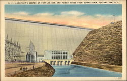 N-715 Architect's Sketch of Fontana Dam and Powerhouse from Downstream, Fontana Dam N.C