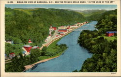 "Birds eye view of Marshall, N.C. and the French Broad River, ""In the land of the sky"""