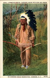 A Primitive Hunter. Cherokee Indian With Bow and Arrow
