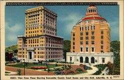 View from Plaza Showing Buncombe County Court House and City Hall, Asheville, N.C