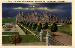 Biltmore house at night in the land of the sky