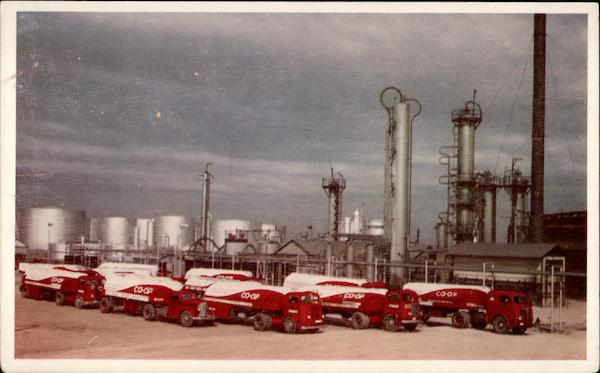 Co-op Transports Lined Up at the Cooperative Refinery Phillipsburg Kansas