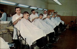 United States Naval Training Center - Barber Shop Postcard