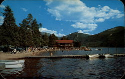 Bathing Beach and boat landing at Grand Lake