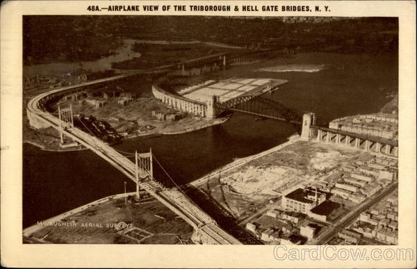 Airplane view of the Triborough & Hell Gate Bridges New York