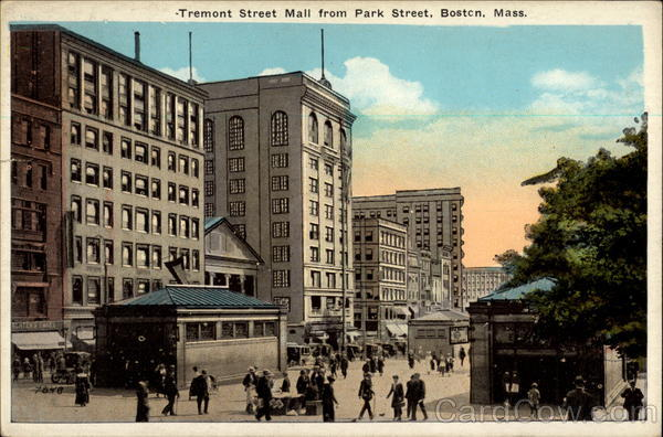 Tremont Street Mall from Park Street Boston Massachusetts
