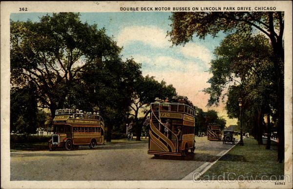 Double deck motor busses on Lincoln Park Drive Chicago Illinois