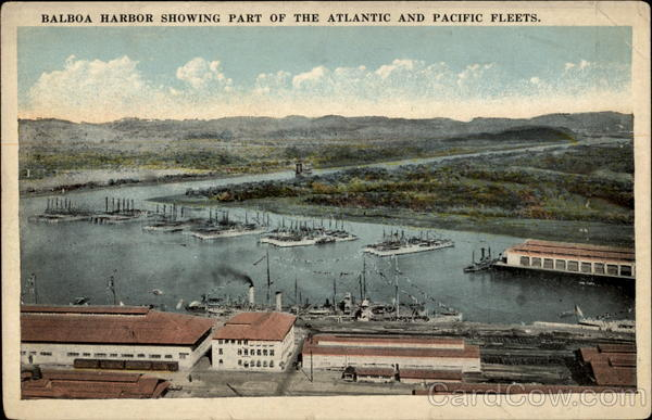 Balboa Harbor showing part of the Atlantic and Pacific Fleets