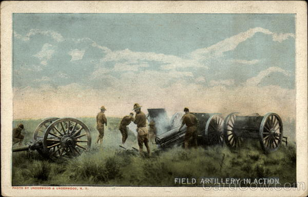 Field Artillery in Action Vintage Postcard