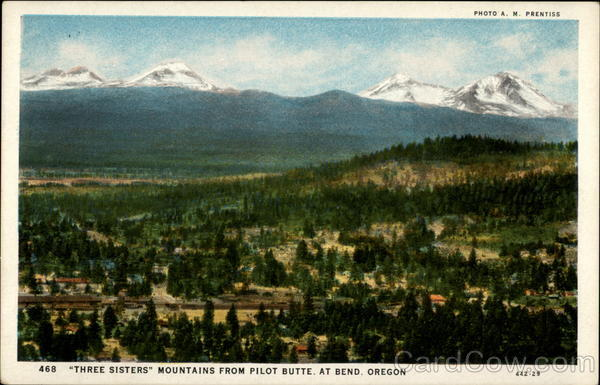 Three Sisters Mountains from Pilot Butte Bend Oregon