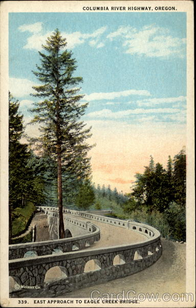 Columbia River Highway, Oregon. East approach to Eagle Creek Bridge
