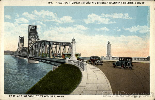 Pacific Highway Interstate Bridge, Spanning Columbia River Portland Oregon