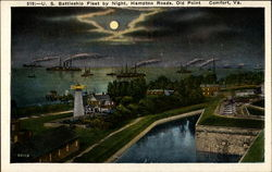 U. S. Battleship Fleet By Night, Hampton Roads Postcard