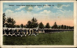 """Review,"" United States Naval Training Station, Great Lakes, Ill Postcard"